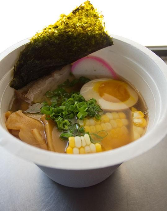 Shot inside food truck of Kaiteki Ramen ingredients: Shoyu (chicken) style broth, fresh noodles, braised pork belly, roasted corn, menma, kamaboko, negi, nori. Monday, August 3, 2015. - KEATON DRAPER