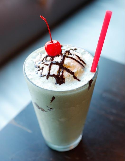 Grasshopper milkshake with a shot of creme de menthe at The Basement Modern Diner in Oklahoma City, Tuesday, Aug. 11, 2015. - GARETT FISBECK