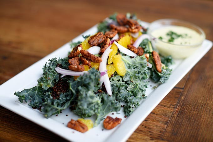 Kale and red quinoa salad at Slaughter's Hall, Tuesday, March 29, 2016. - GARETT FISBECK