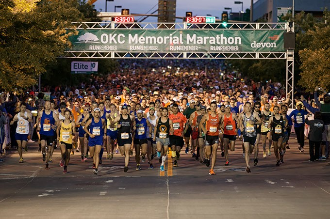 Runners take off from the starting line of the 2016 Oklahoma City Memorial Marathon. (Oklahoma City Memorial Marathon / provided / file)