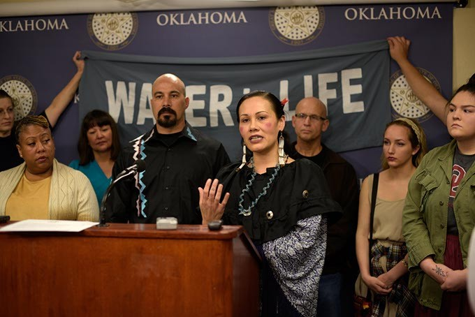 No Plains Pipeline founder Ashley McCray speaks during a press conference announcing the campaign to stop Plains All American's - Diamond Pipeline, at the Oklahoma State Capitol, Monday, Jan. 30, 2017. - GARETT FISBECK