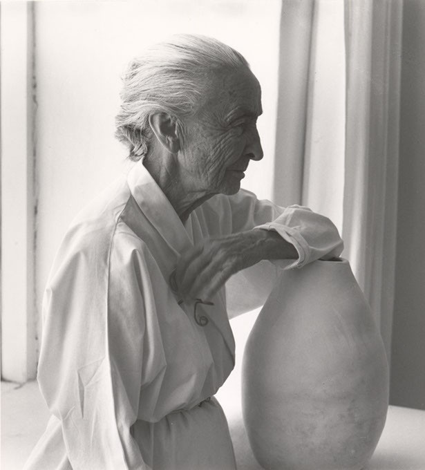 """""""Georgia O'Keeffe with Juan Hamilton Pot"""" by Laura Gilpin - IMAGE FRED JONES JR. MUSEUM OF ART / PROVIDED"""