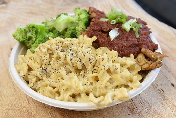 The Down Home Bowl features The Loaded Bowl's signature cashew mac and cheese. | Photo Garett Fisbeck.