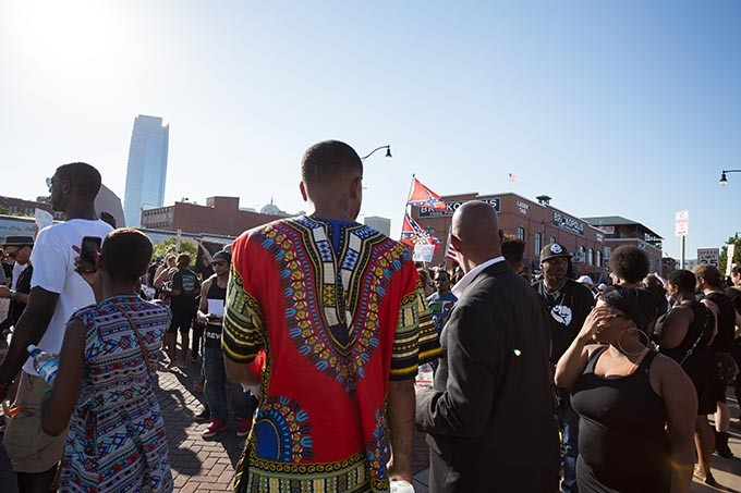 Protestors gather in Bricktown at the Black Lives Matter protest on Sunday, July 10, 2016 in Oklahoma City. - EMMY VERDIN