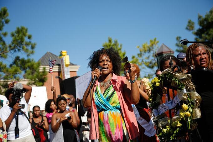 State Senator Constance Johnson speaks during a Black Lives Matter demonstration in Oklahoma City, Sunday, July 10, 2016. - GARETT FISBECK