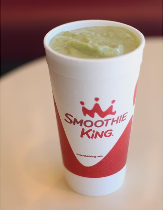 The Vegan - Mango Kale Smoothie  at Smoothie King. The smoothie is made with a raw plant-based protein, kale, a mango juice blend, bananas, apple juice and almonds. - CARA JOHNSON