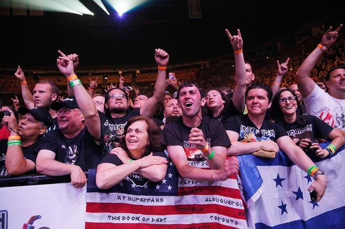 Fans react as Iron Maiden performs at the Chesapeake Energy Arena, Monday, June 19, 2017. - GARETT FISBECK