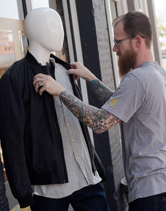 Daniel McCloud of Trade Men's Wares is breaking out a new line of field jackets for the fall. | Photo Garett Fisbeck