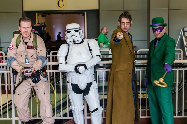 from left A Ghostbuster, Stormtrooper, the 10th Doctor and Riddler attended SoonerCon 24 in 2015. |  Photo SoonerCon / provided