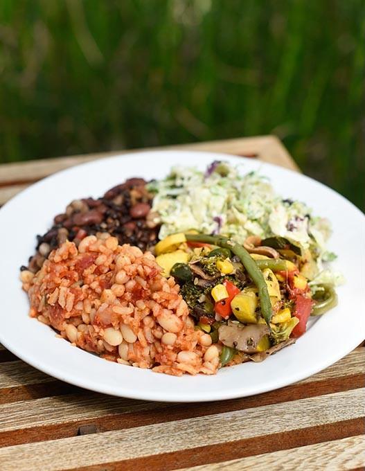 Spanish rice, Italian balsamic beans, mixed veggies, and brussels sprout slaw at Nebu in Oklahoma City, Thursday, April 21, 2016. - GARETT FISBECK
