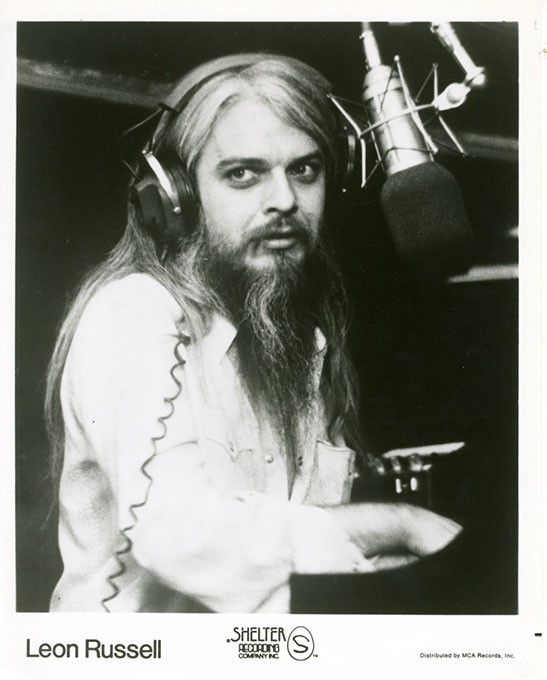 Oklahoma Museum of Popular Culture, or - OKPOP, has numerous Leon Russell photos and - memorabilia items in its collections, including this - late-'60s-to-mid'70s Shelter Records-era publicity still from MCA Records. | Photo Oklahoma - Historical Society / MCA Records / provided