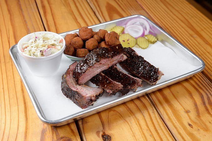 Rib dinner with fried okra and coleslaw at Texlahoma BBQ in Edmond, Tuesday, Dec. 13, 2016. - GARETT FISBECK