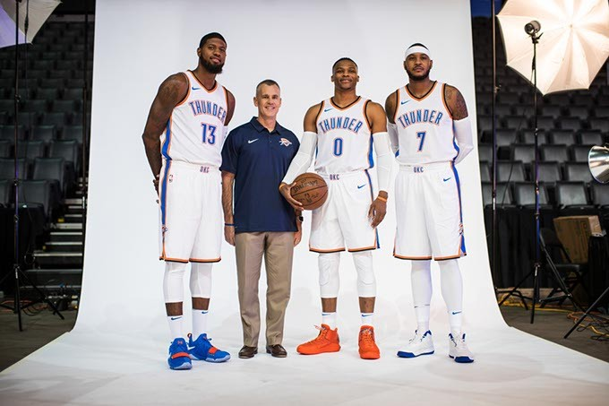 Thunder coach Billy Donovan center left will guide the team's new player nucleus, including from left Paul George, Russell Westbrook and Carmelo Anthony. (Zach Beeker / Oklahoma City Thunder / provided)