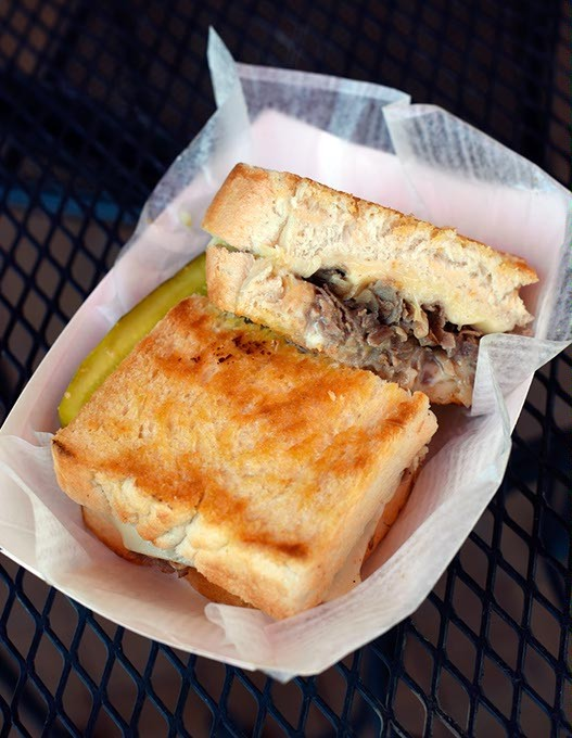 Philly Grilled Cheese at Hobbie's Hoagies, Friday, April 15, 2016. - GARETT FISBECK