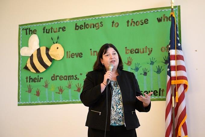 Aurora Lora speaks during a public meeting at Andrew Johnson Elementary, Thursday, March 23, 2017. - GARETT FISBECK