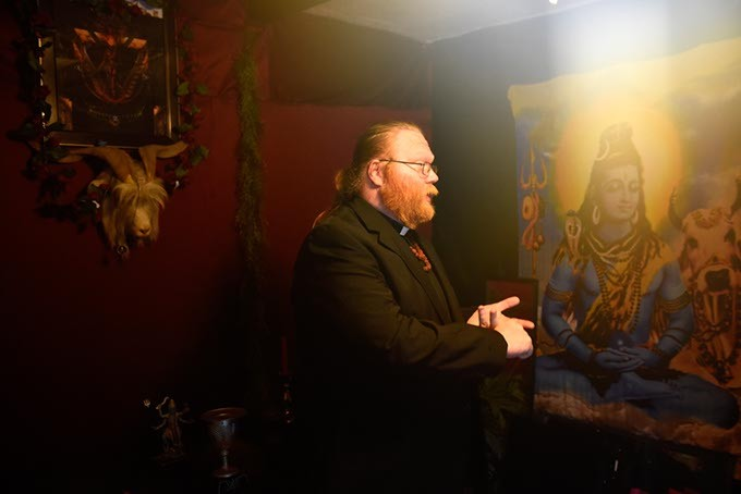 Adam Daniels talks about an upcoming black mass at the Church of Ahriman Satanists in Oklahoma City, Thursday, May 19, 2016. - GARETT FISBECK