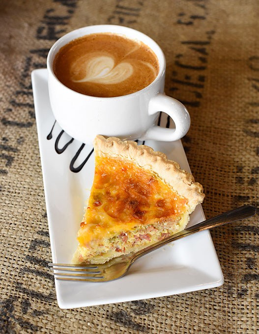 Homemade bacon quiche and mocha latte at Wild Hero Coffee Co. in Mustang, Wednesday, March 9, 2016. - GARETT FISBECK