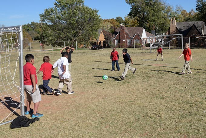 Students play soccer at Edgemere School, Wednesday, Nov. 16, 2016. - GARETT FISBECK