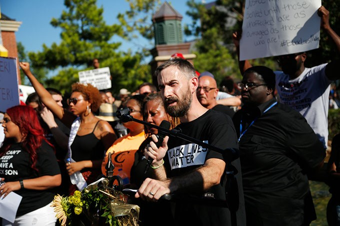 Ryan Kiesel, Executive Director of the American Civil Liberties Union of Oklahoma, speaks during a Black Lives Matter demonstration in Oklahoma City, Sunday, July 10, 2016. - GARETT FISBECK