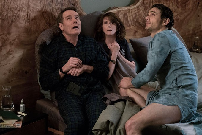 from left Bryan Cranston, Megan Mullally and James Franco costar in Why Him?, which opened Christmas week in theaters nationwide. (Scott Garfield / Century Fox / provided)