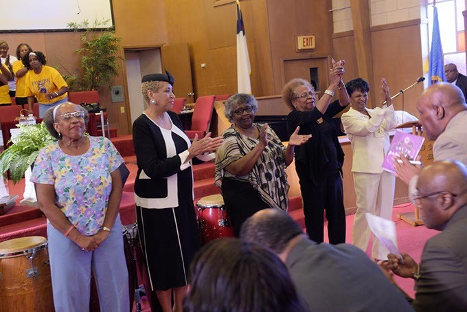 Five of the original Katz Drug Store sit-in participants were honored at the 59th Oklahoma City Sit-In Anniversary Program at Fifth Street Baptist Church earlier this month. (Garett Fisbeck)