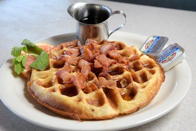 Bacon Waffle at Stevie's Cafe, Tuesday, Aug. 16, 2016. - GARETT FISBECK