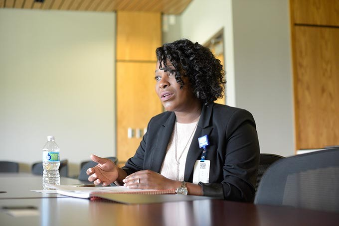 Aundria Goree, administrator of community health, talks about a grand the OCCHD has recently received, Tuesday, April 25, 2017. - GARETT FISBECK