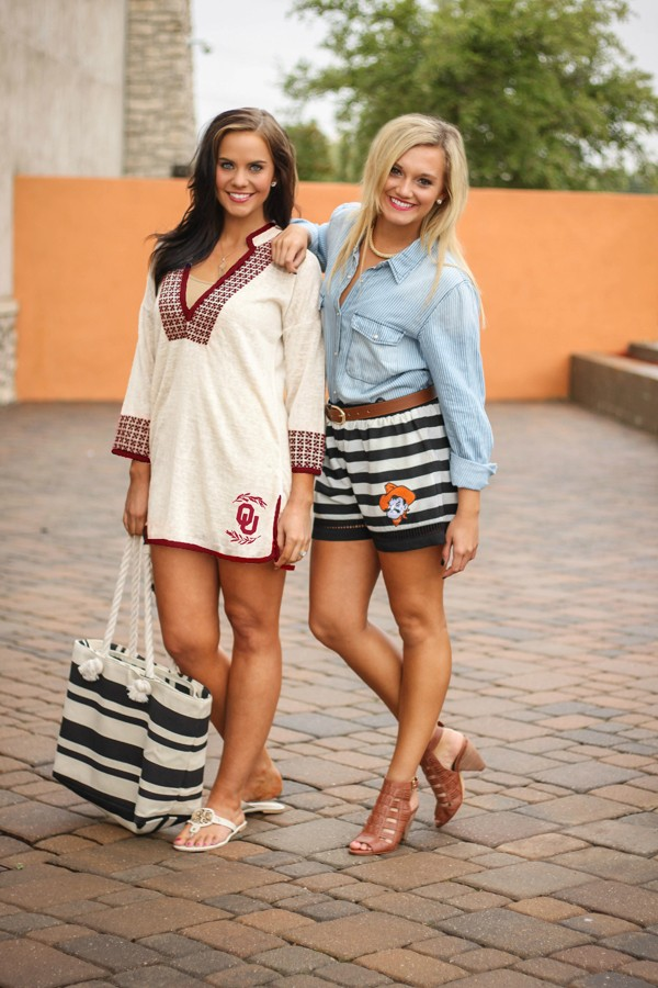 Tulsa-based Gameday Couture sports fashions feature on-trend swim tunics, laser-cut shorts and more.   Photo Gameday Couture / provided