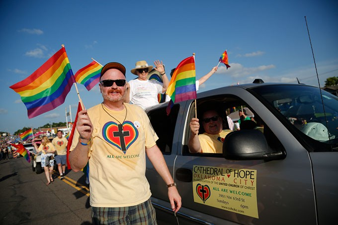 "Cathedral of Hope marches during the 2015 OKC Pride Parade. Vaunda Knapp marches during the 2015 OKC Pride Parade. OKC Pride's theme for 2017 is ""30 years of resistance."" The nonprofit organization is celebrating 30 years of Pride celebrations this year. (Garett Fisbeck / file)"