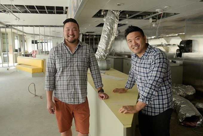 Kevin Lee and John Lee in the space that will become Korean fast-casual restaurant Gogi-Go in Midtown, Tuesday, June 13, 2017. - GARETT FISBECK