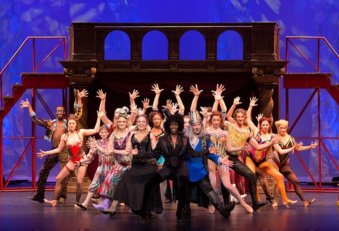 Housso Semon as Leading Player (center) and other members of the Pippin cast | Photo OKC Broadway / provided - NICK GOULD PHOTOGRAPHY