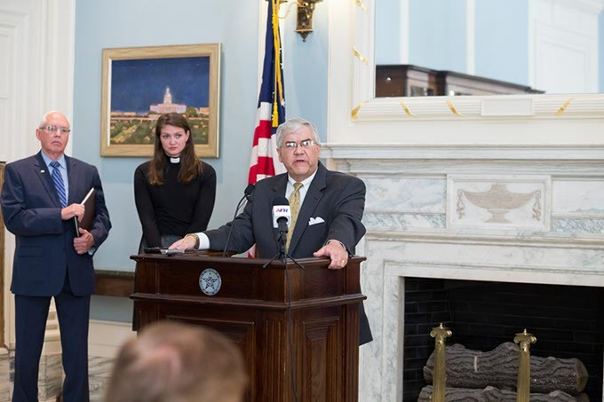 Senator Brian Crain speaks to attendees at the launch of Reason for Reform Campaign at the State Capitol in Oklahoma City, Wednesday, August 3, 2016. - EMMY VERDIN