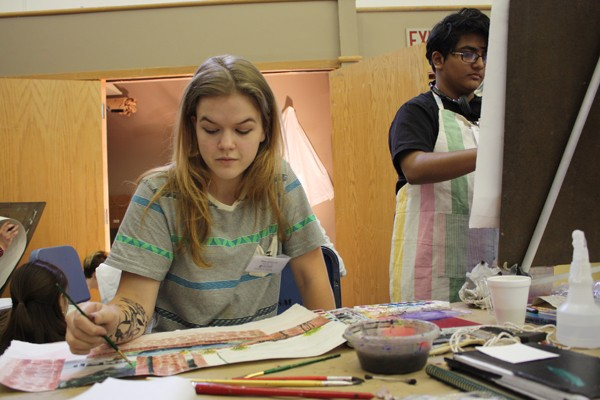 Guthrie's Zoe Ewbank and Norman's Asha Chidambaram paint a scene from memory at Oklahoma Summer Arts Institute at Quartz Mountain. | Photo Laura Eastes