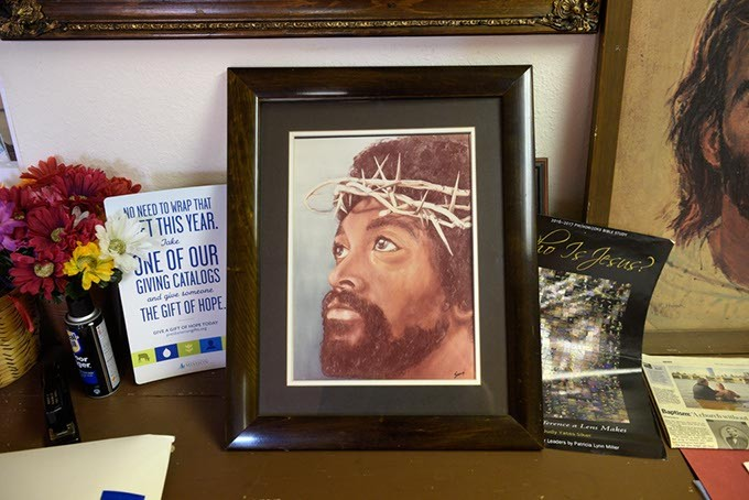 A portrait of Jesus as a black man is displayed at Trinity Presbyterian Church. (Garett Fisbeck)