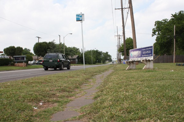 Through MAPS 4 Neighborhoods community meetings, the public has called for repairing broken sidewalks and building cover shelter at bus stops like those along Kelly Avenue in northeast Oklahoma City.  | Photo Laura Eastes