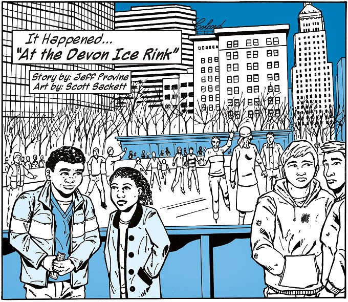 "A frame from ""It Happened at Devon Ice Rink"" in the first issue of Okie Comics Magazine 