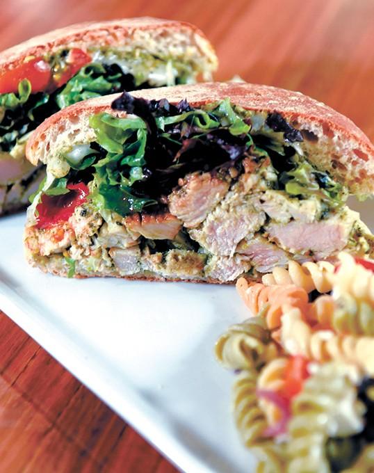 Turkey pesto sandwich with pasta, at Coolgreens in Downtown Oklahoma City, 1-7-16. - MARK HANCOCK