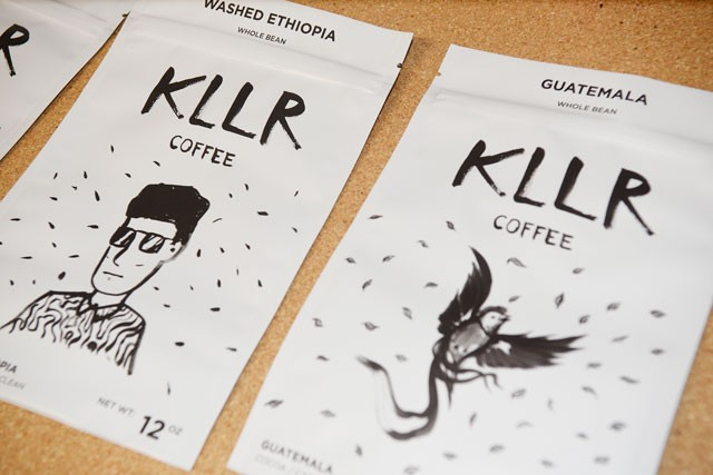 Local artist Koon Vega designed packaging for KLLR Coffee. (Photo Jacob Threadgill)