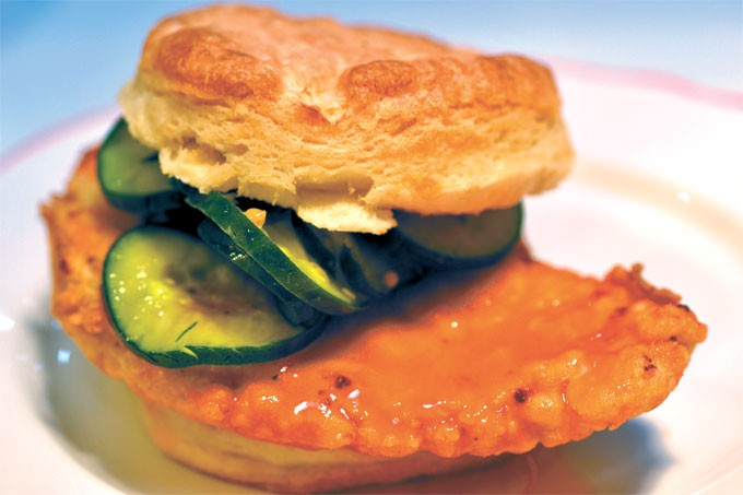 The Nashville sandwich is fried chicken covered in hot sauce and paired with honey mustard and bread-and-butter pickles.   Photo Aaron Snow / provided