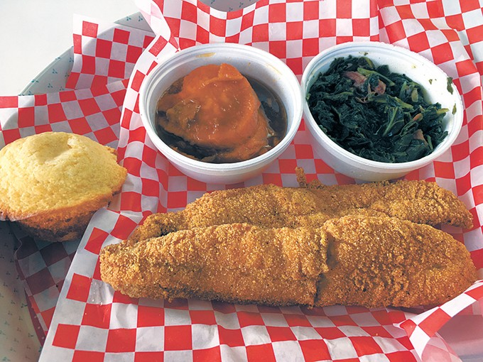Catfish with sweet potatoes, greens and a cornbread muffin with a drink for $12 - JACOB THREADGILL