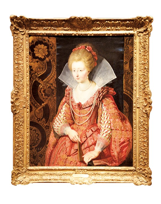 """Portrait of Charlotte-Marguerite de Montmorency, Princess of Condé, circa 1610"" by Peter Paul Rubens above with Isabelle de Borchgrave's dress interpretation. below - OKLAHOMA CITY MUSEUM OF ART  / PROVIDED AND PHOTO KARSON BROOKS"