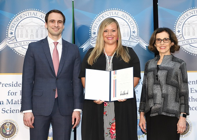 Norman teacher Macey Stewart center traveled to Washington, D.C. to accept her Presidential Award for Excellence in Mathematics and Science Teaching. | - PROVIDED