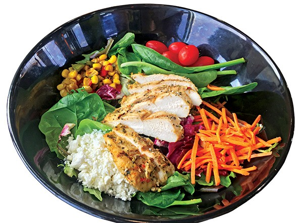 The salad at Pollo Campero is available with grilled or fried chicken and ranch or white balsamic dressing. - JACOB THREADGILL