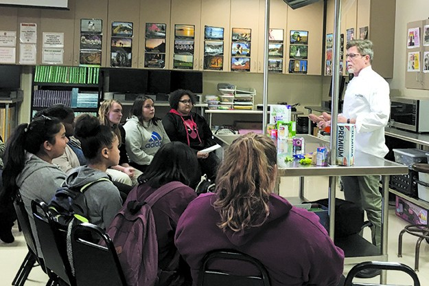 Restaurateur Rick Bayless gives OKCPS students a cooking class. - NAZARENE HARRIS