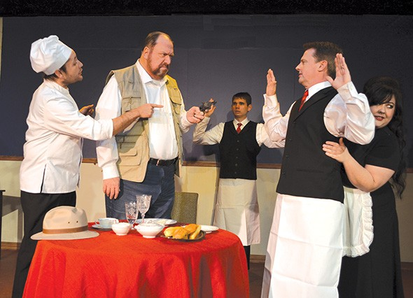 When the chef's dish of sorbet turns out to be a revolver, the staff is taken by surprise in An Empty Plate in the Café du Grand Boeuf. (from left C.W. Bardsher, Glen Hallstrom, Cam Taylor, Kevin Moore and Holly McNatt) - CARPENTER SQUARE THEATRE / PROVIDED