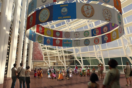 Renderings show various aspects of The American Indian Cultural Center and Museum, set to open in 2021. - THE AMERICAN INDIAN CULTURAL CENTER AND MUSEUM / PROVIDED