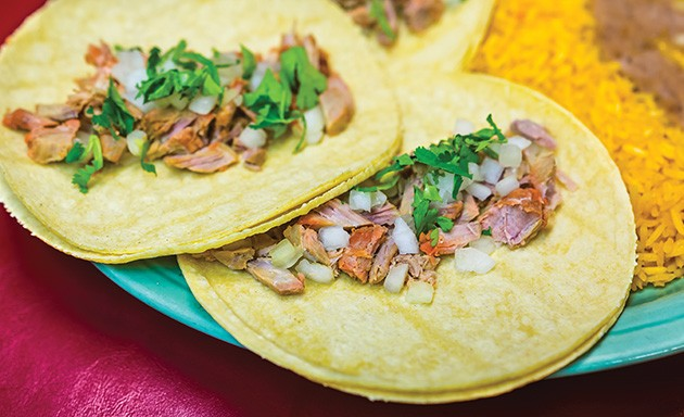 Chelino's Mexican Restaurant is unveiling carnitas tacos for Taco Week, for which three tacos are available for $6.99 with rice and beans. - PROVIDED