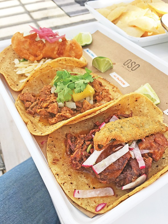 Baja fish, al pastor and brisket burnt end tacos at OSO on Paseo - JACOB THREADGILL