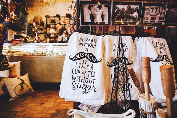 Mustache-themed tea towels at Craig's Curious Emporium - ALEXA ACE