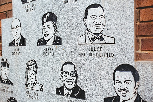 A monument in front of Freedom Center honors civil rights leaders. - ALEXA ACE